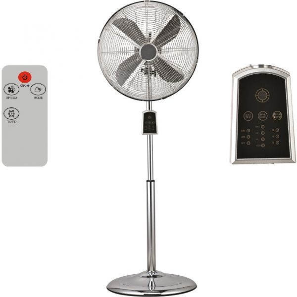 Digitaler Retro Chrom Standventilator mit Fernbedienung